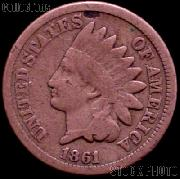 1861 Indian Head Cent Variety 2 Oak Wreath w/ Shield G-4 or Better Indian Penny