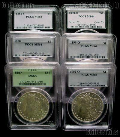 Morgan Silver Dollar 1878-1904 in PCGS MS 64 Mixed Dates and Mint Marks