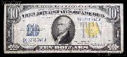 Ten Dollar Bill North Africa Note Yellow Seal US Currency Good or Better