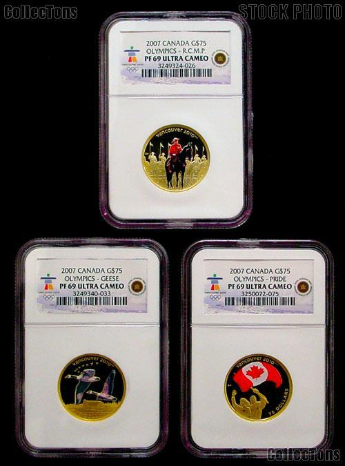 2007 Canada Olympics Gold & Silver Coin Set from RCM all in NGC PF 69 ULTRA CAMEO 8 Coins