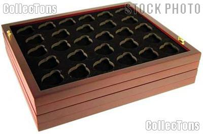 "Coin Tray for 28 Air-Tite ""A"" Capsules fits in Mahogany Wood Coin Display"