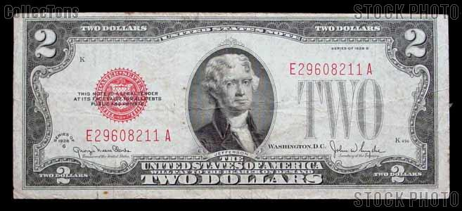 Two Dollar Bill Red Seal Series 1928 US Currency Good or Better