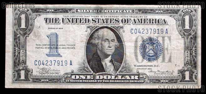 "One Dollar Bill Silver Certificate ""Funny Back"" Series 1934 US Currency Good or Better"