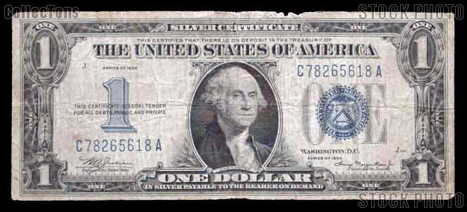 """One Dollar Bill Silver Certificate """"Funny Back"""" Series 1934 US Currency"""