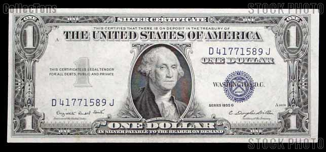 One Dollar Bill Silver Certificate NO MOTTO Series 1935 US Currency ...