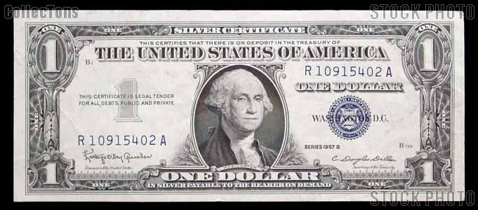 One Dollar Bill Silver Certificate Series 1957 US Currency AU/CU ...