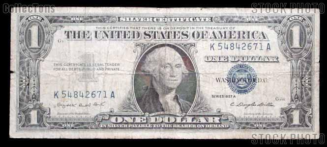 One Dollar Bill Silver Certificate Series 1957 US Currency