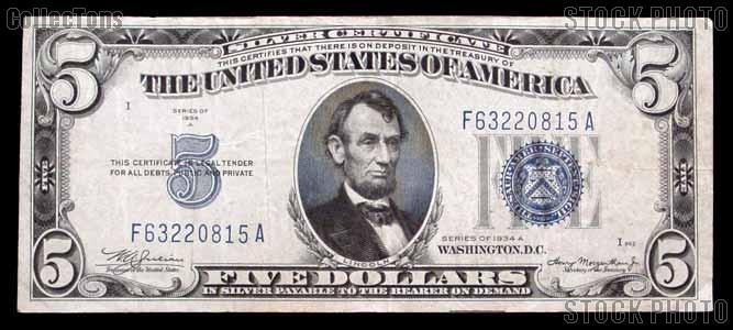 Five Dollar Bill Silver Certificate Series 1934 US Currency Good or ...