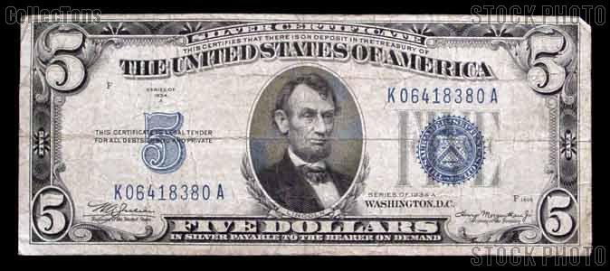 Five Dollar Bill Silver Certificate Series 1934 US Currency - $8.99