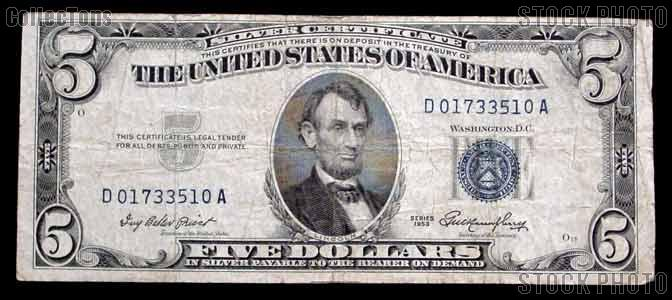 Five Dollar Bill Silver Certificate Series 1953 US Currency Good or ...