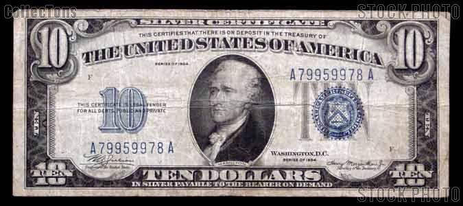 Ten Dollar Bill Silver Certificate Series 1934 US Currency
