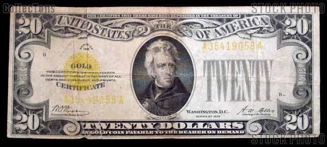 Twenty Dollar Bill Gold Certificate Series 1928 US Currency