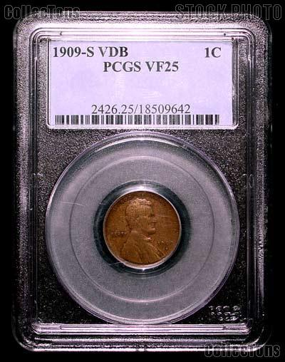 1909-S VDB Lincoln Wheat Cent KEY DATE in PCGS VF 25