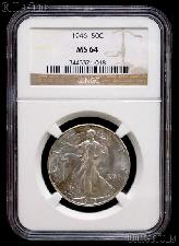 1946 Walking Liberty Silver Half Dollar in NGC MS 64