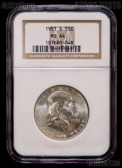 1951-S Franklin Silver Half Dollar in NGC MS 64