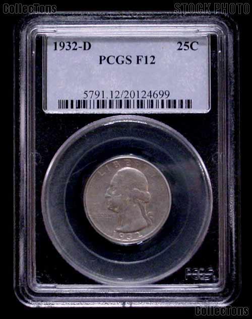 1932-D Washington Silver Quarter KEY DATE in PCGS F-12