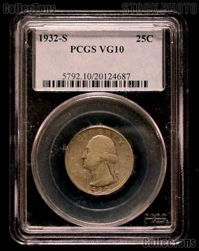 1932-S Washington Silver Quarter KEY DATE in PCGS VG-10