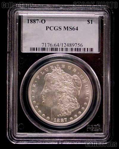 1887-O Morgan Silver Dollar in PCGS MS 64