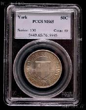 1936 York County Maine Tercentenary Silver Commemorative Half Dollar in PCGS MS 65