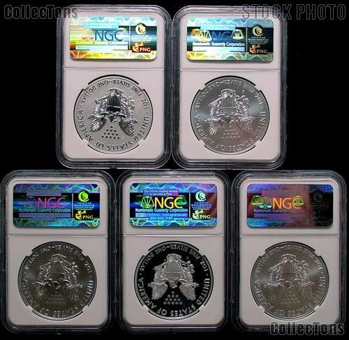 2011 25th Anniversary American Silver Eagle Set (5 Coins) in NGC Early Release MS 70 & PF 70