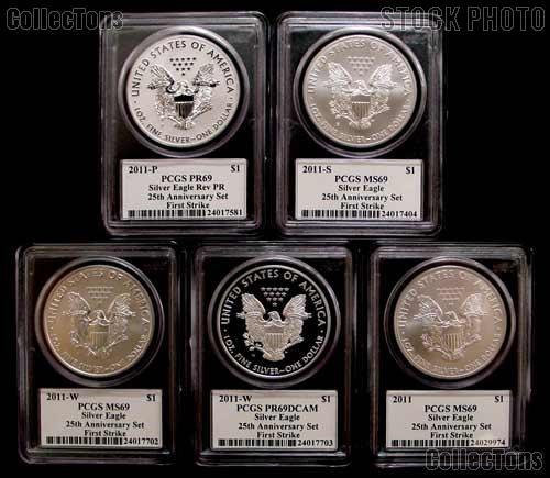 2011 25th Anniversary American Silver Eagle Set (5 Coins) in John Mercanti Signed PCGS First Strike MS 69 & PR 69