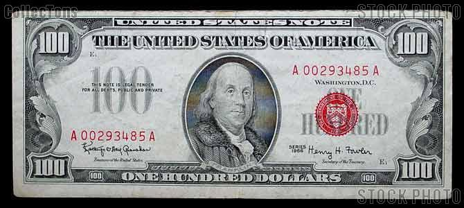 One Hundred 100 Dollar Bill Red Seal Series 1966 US Currency Good or Better