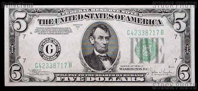 Five Dollar Bill Green Seal FRN Series 1934 US Currency Good or ...