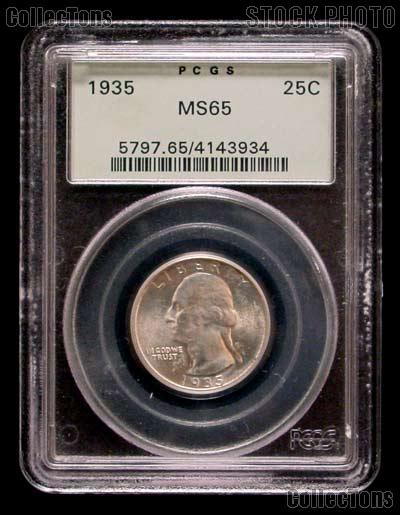 1935 Washington Silver Quarter in PCGS MS 65