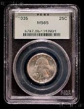 1935 Washington Silver Quarter in PCGS MS 65