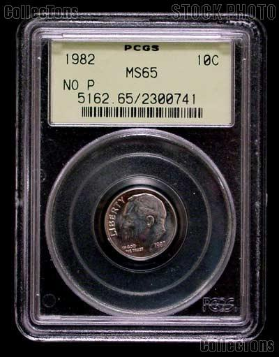 """1982 """"No P"""" Roosevelt Dime in PCGS MS 65"""