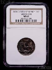 """2004-D """"Extra Leaf High"""" Wisconsin State Quarter in NGC MS 65"""