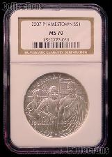 2007-P Jamestown 400th Anniversary Silver Commemorative Dollar Coin in NGC MS 70