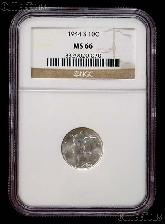 1944-S Mercury Silver Dime in NGC MS 66