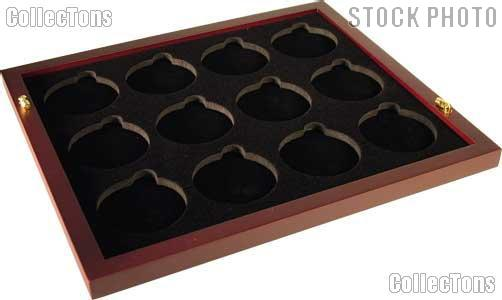 "Coin Tray for 12 Air-Tite ""I"" Capsules fits in Mahogany Wood Coin Display"