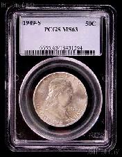 1949-S Franklin Silver Half Dollar KEY DATE in PCGS MS 63
