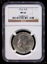 1953 Franklin Silver Half Dollar in NGC MS 64