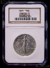 1945 Walking Liberty Silver Half Dollar in NGC MS 66