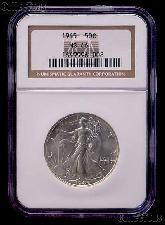 1945 Walking Liberty Silver Half Dollar in NGC MS 66