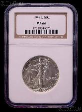1943-D Walking Liberty Silver Half Dollar in NGC MS 66