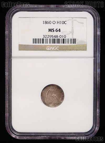 1860-O Seated Liberty Half Dime Variety 4 Legend on Obverse in NGC MS 64