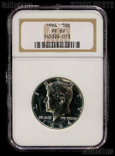 1964 Kennedy Silver PROOF Half Dollar in NGC PF 69