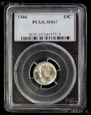 1944 Mercury Silver Dime in PCGS MS 67