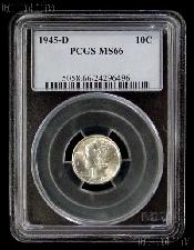 1945-D Mercury Silver Dime in PCGS MS 66