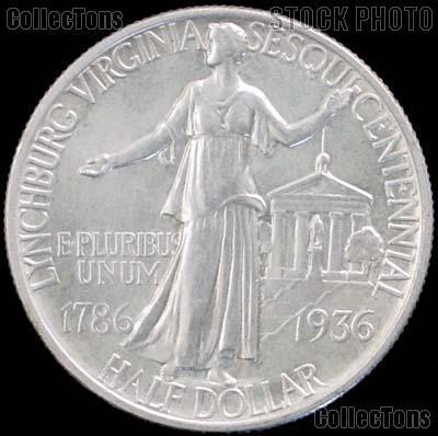 Lynchburg Virginia Sesquicentennial Silver Commemorative Half Dollar (1936) in XF+ Condition
