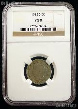 1912-S Liberty Head V Nickel KEY DATE in NGC VG 8