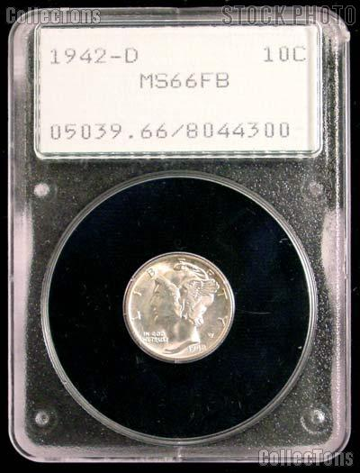 1942-D Mercury Silver Dime in PCGS MS 66 FB (Full Bands)