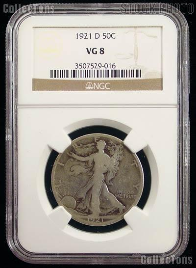 1921-D Walking Liberty Silver Half Dollar KEY DATE in NGC VG 8