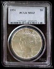 1934 Peace Silver Dollar in PCGS MS 63