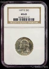 1937 D Washington Silver Quarter in NGC MS 65