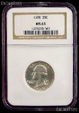 1938 Washington Silver Quarter in NGC MS 65